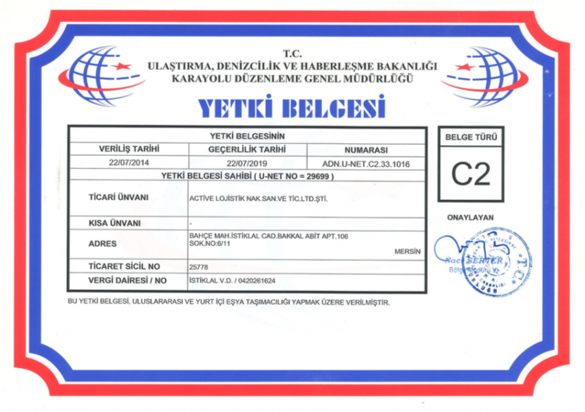 Certificates / Active Logistics - Mersin - Turkey